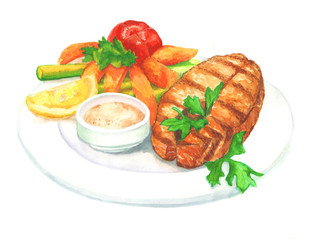 Dish with fish and vegetables. Healthy food. Healthy food