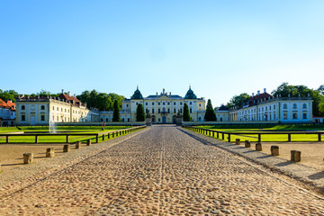 Baroque building of the Branicki Palace, an aristocratic residential complex of the Saxon period in setting sun, Białystok, Poland