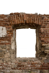 Old dilapidated brick arch