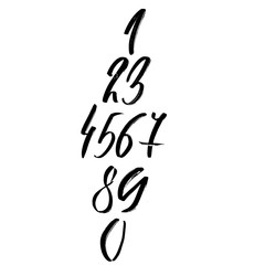 Set of calligraphic ink numbers. Dry brush lettering. Vector illustration.