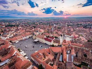 Aerial view of Sibiu, Romania, at sunset