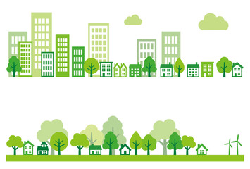 Ecology green city, town and countryside