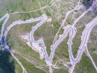 Aerial view of Transalpina road, Romania