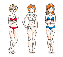Attractive young women group standing wearing colorful bikini. Vector people illustrations set.