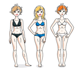 Attractive young women group standing wearing colorful bikini. Vector people illustrations set. Slim female with perfect body.