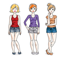 Attractive young women group standing wearing fashionable casual clothes. Vector people illustrations set.