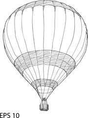 Doodle of Hot Air Balloon Vector Sketch Up line, EPS 10.