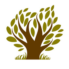 Vector image of single branchy tree, nature concept. Art symbolic illustration of plant, forest idea.