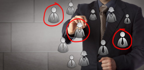Marketer Selecting Three Prospects In A Group
