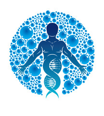 Vector graphic illustration of strong male created as scientific model of human DNA and surrounded by a water ball. Eco friendly technology, technology and nature interaction.
