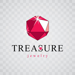 Vector glossy red ruby. Brilliant jewelry sign emblem, illustration.