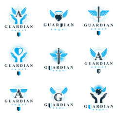 Holy spirit graphic vector logotypes collection, can be used in charity and catechesis organizations. Vector emblems created using battle swords, loving hearts and guardian shields.