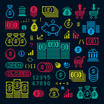 Vector flat 8 bit icons, collection of simple geometric pixel symbols. Digital web signs created in economics and finance concept.