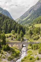 Susch, Dorf, Engadin, Unterengadin, Alpen, Eisenbahnbrücke, Lärchenwald, Wanderweg, Sagliains, Bergbach, Bergstrasse, Graubünden, Sommer, Schweiz