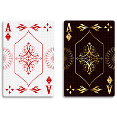 Ace of diamonds in classic red and golden color. Vector illustration.