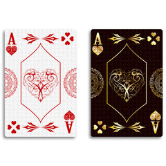 Ace of hearts in classic red and golden color. Vector illustration.