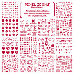 Vector flat 8 bit icons, collection of simple geometric pixel symbols. Digital web signs created in different social concepts like business and investment, weather conditions and music.