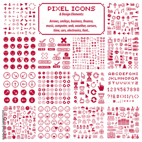 Vector flat 8 bit icons, collection of simple geometric