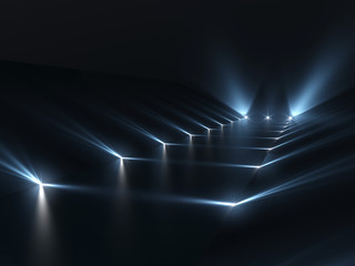 Futuristic dark podium with light and reflection background