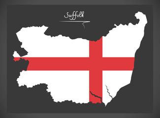 Suffolk map England UK with English national flag illustration