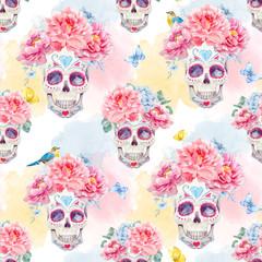 Watercolor skull seamless vector pattern