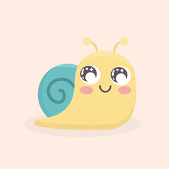 Cute snail cartoon vector isolated.