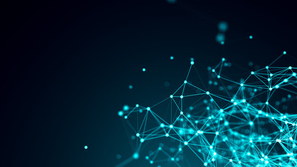 Abstract connected dots on bright blue background. Technology backdrop with depth of field. 3D rendering