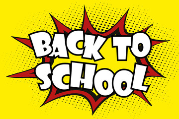 Comic pop art background- back to school label,