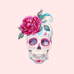 Nice watercolor vector skull