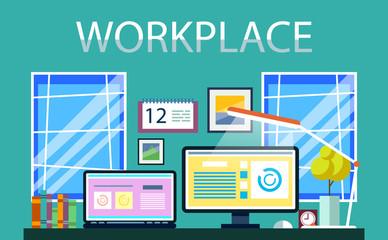Vector workplace with computer desk, books, computer, desk lamp, calendar, pictures. Vector illustration, postcard, poster.
