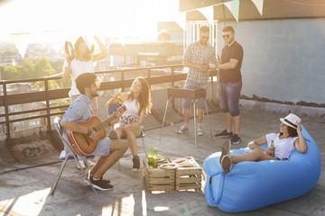 Barbeque on the building rooftop