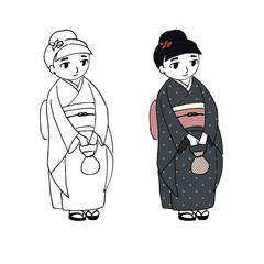 Hand drawn vector illustration of a cute curvy girl dressed in Japanese kimono with polka dots, holding small handbag, with flower in her hair, in zori sandals.
