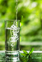 Cool fresh water with ice and mint. Splash in glass