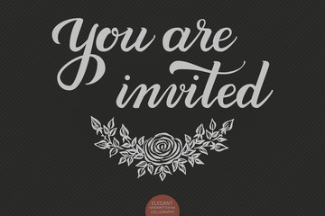 Hand drawn lettering - You are invited. Elegant modern handwritten calligraphy. Vector Ink illustration. Typography poster on dark background. For cards, invitations, prints etc.