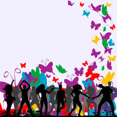silhouette of people dancing on a background with butterflies