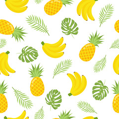 Seamless pattern with tropical fruits. Vector