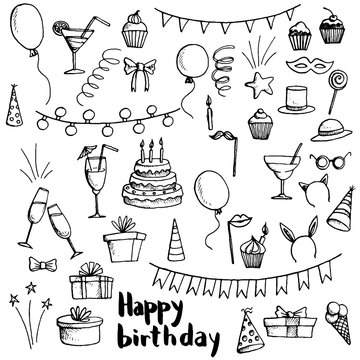 birthday party doodle set