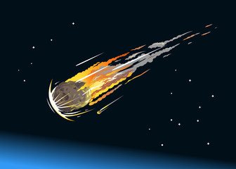 Falling Asteroid Into Atmosphere