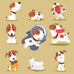 Cute little puppy in his evereday activity set, dogs daily routine funny colorful character