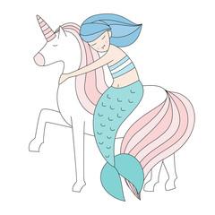 Mermaid and unicorn isolated vector illustration