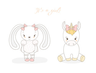 Hand drawn vector illustration of cute animal baby girl: smiling rabbit and unicorn with ribbons, text It s a girl.