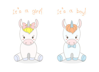 Hand drawn vector illustration of a cute little baby unicorns boy with a bow tie and girl with a ribbon, text It s a boy, It s a girl.