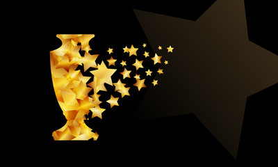 Champions cup background. Gold star particles form a sport trophy silhouette.
