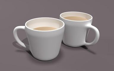 Two coffee mugs 3D illustration