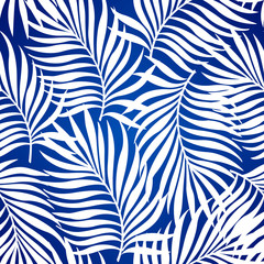 Seamless repeating pattern with silhouettes of palm tree leaves in blue background.