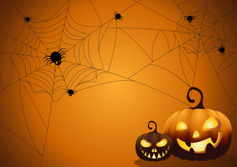 Halloween night background with pumpkin.Vector illustration.