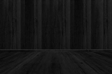 Black wood texture background, Room floor blank for design