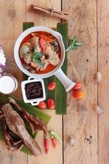 Red curry with roast duck is delicious