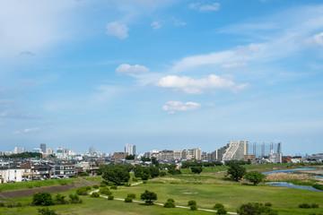 初夏の多摩川と青空3