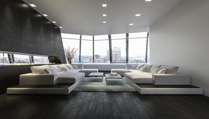 Luxurious Penthouse Lounge Room With City View